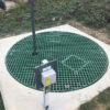 Sump cover at a water treatment works constructed from green QuartzGrip GRP Open Mesh Grating