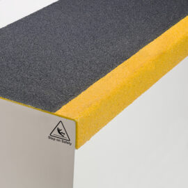 Step on Safety black anti-slip stair tread cover with yellow nosing