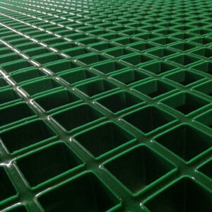 Close-up of green Concave Open Mesh GRP Grating