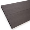Close-up of RecDeck black composite decking boards showing the slip-resistant smooth side