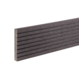 Close up of RecoDeck WPC grooved decking trim in Black