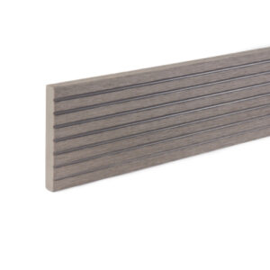 Close up of RecoDeck WPC grooved decking trim in Light Grey