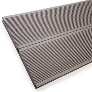 Close up of RecoDeck solid WPC decking boards in grooved light grey finish
