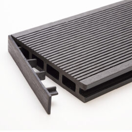 Black clip-on end cap for RecoDeck grooved WPC decking