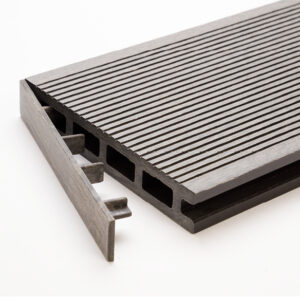 Light grey clip-on end cap for RecoDeck grooved WPC decking