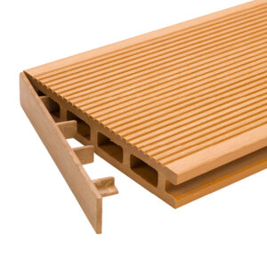 Teak clip-on end cap for RecoDeck grooved WPC decking