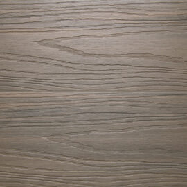 Close up of RecoDeck Ancient Wood composite Decking boards showing the slip-resistant woodgrain finish