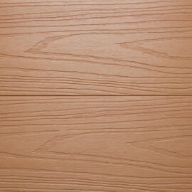 Close up of RecoDeck Maple composite Decking boards showing the slip-resistant woodgrain finish