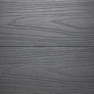 Close up of RecoDeck Slate Grey composite Decking boards showing the slip-resistant woodgrain finish