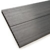 Close up of RecoDeck Slate Grey composite Decking boards showing the slip-resistant smooth side