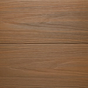 Close up of RecoDeck Teak composite Decking boards showing the slip-resistant woodgrain finish