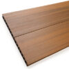 Close up of RecoDeck Teak composite Decking boards showing the slip-resistant smooth side