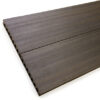 Close up of RecoDeck Walnut composite Decking boards showing the slip-resistant smooth side
