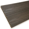 Close up of RecoDeck Walnut composite Decking boards showing the slip-resistant woodgrain finish