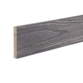 Close up of RecoDeck WPC decking trim in Slate Grey woodgrain finish