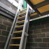 GRP ships ladder with QuartzGrip anti-slip open mesh grating steps