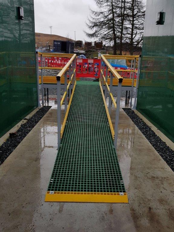 GRP open mesh access ramp leading to an access platform