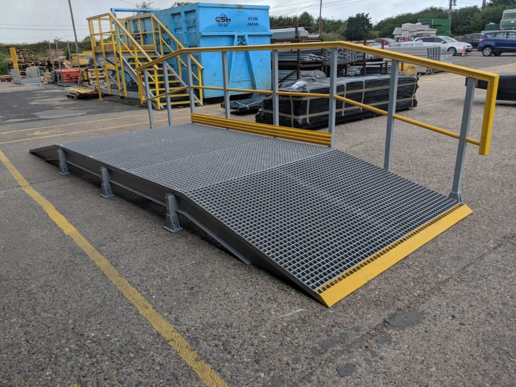Photos shows a GRP access ramp pre-constructed at the Step on Safety workshop in Brantham,Suffolk