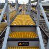 A drivers access platform under construction at Ferme Park railway depot
