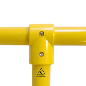 Close-up of a SafeClamp 3-Way Connector connecting two tubes