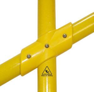 Close-up of a SafeClamp 4-Way Stair Connector