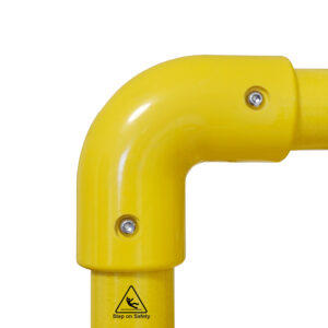 Close-up of a SafeClamp Elbow Connector connecting two tubes