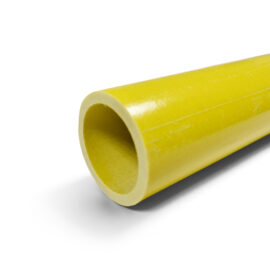 Close up showing the end of a 50mm diameter yellow GRP tube