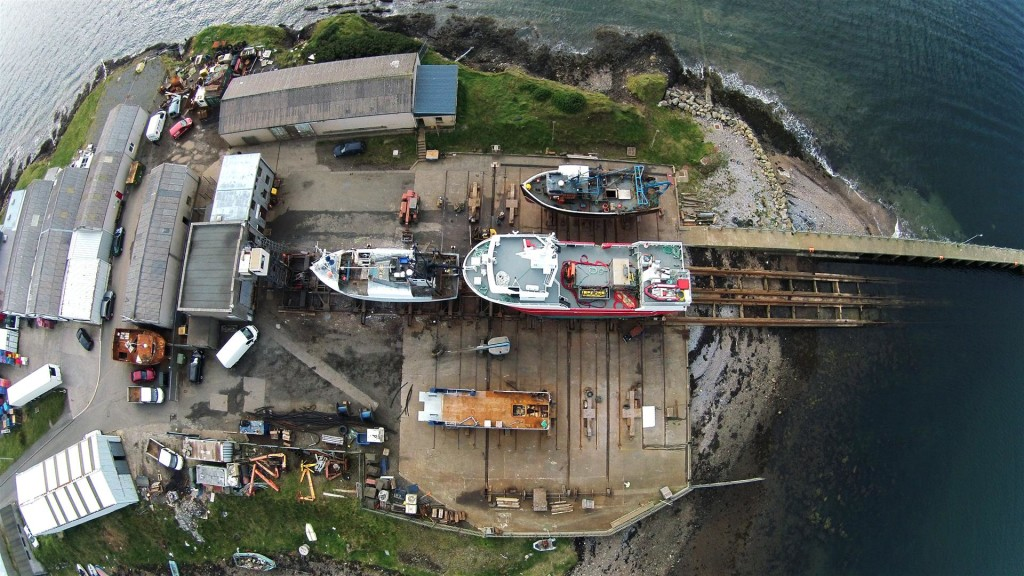 A birdseye view of the slipway at Stornoway before being covered with QuartzGrip Anti-Slip Flooring
