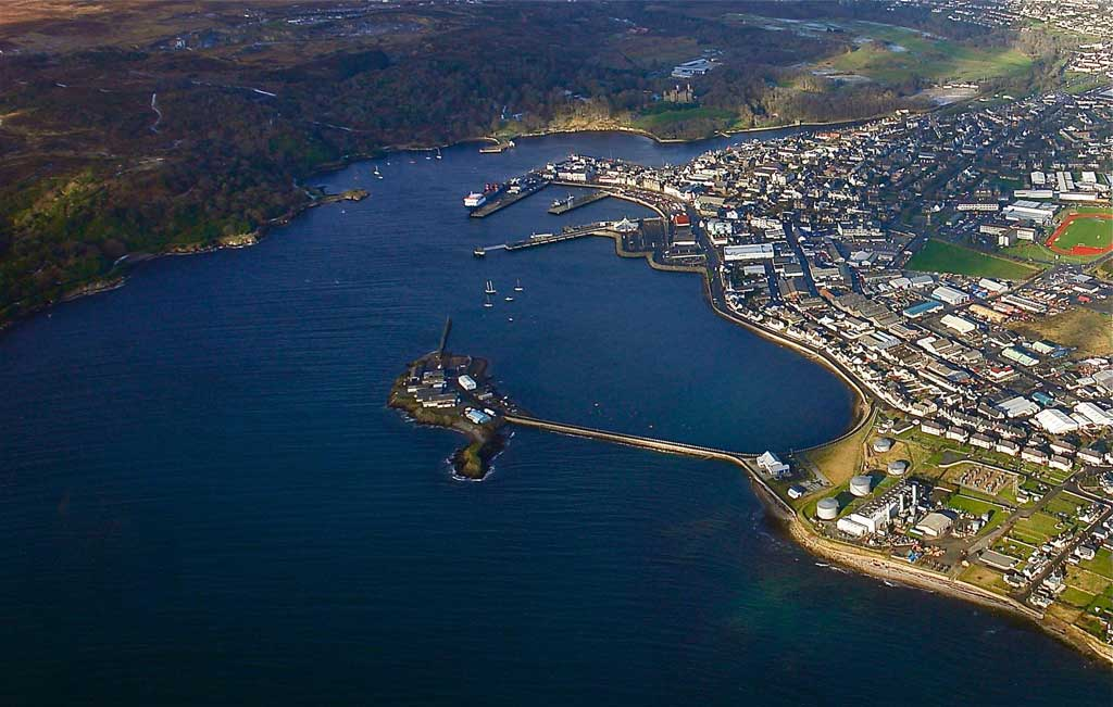 An aerial view of the port at Stornoway