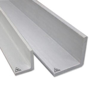 Close-up shotof two sizes of GRP Angle structural profiles
