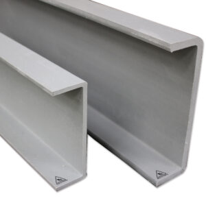 Close-up shotof two sizes of GRP C-Section structural profiles