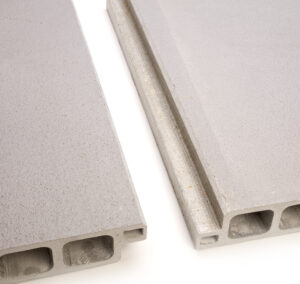 Close-up of a top and bottom SafeSlab Panels showing how they interlock