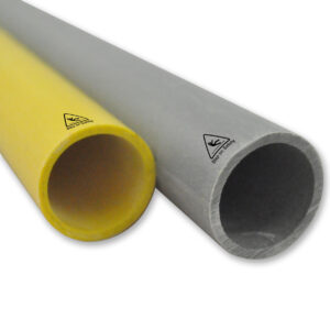 Close-up shotof two sizes of GRP Tube structural profiles