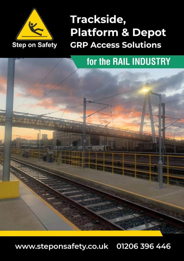 Picture of the front cover of Step on Safety's Rail Industry brochure 2021