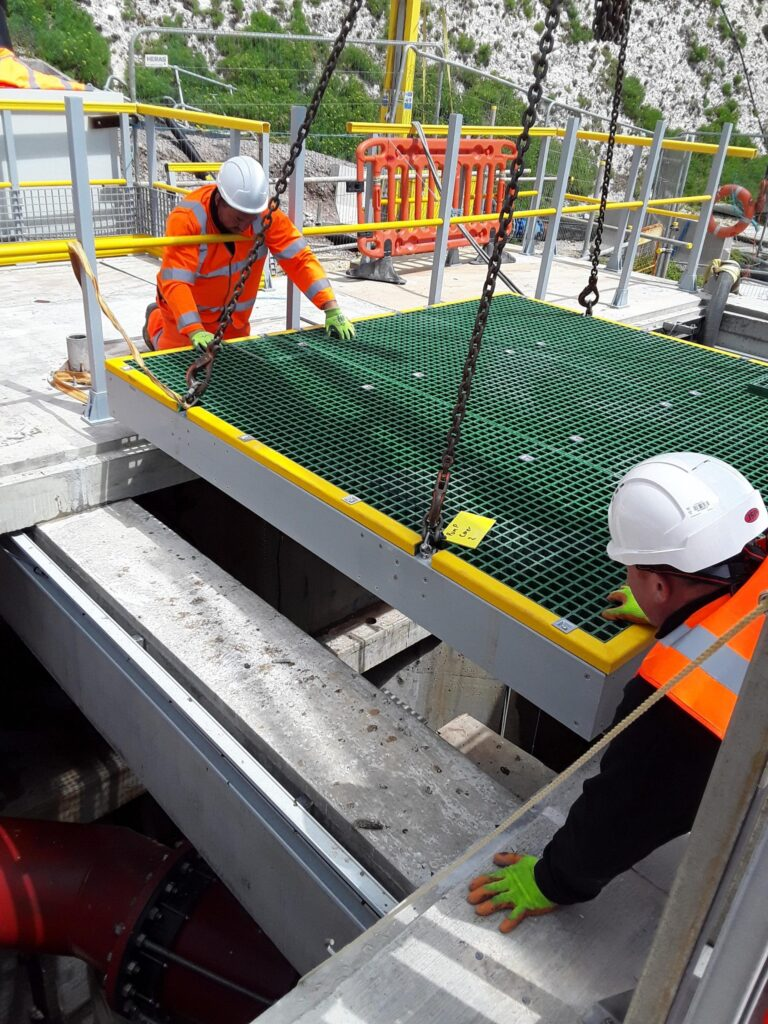 A GRP Chamber Cover being lowered into position at the Portobello Pumping Station