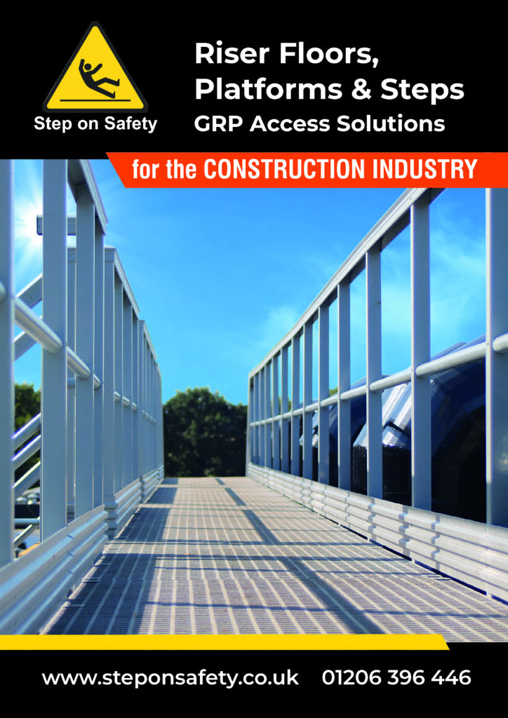 Front cover of the STep on Safety Construction Industry brochure showing a GRP walkway